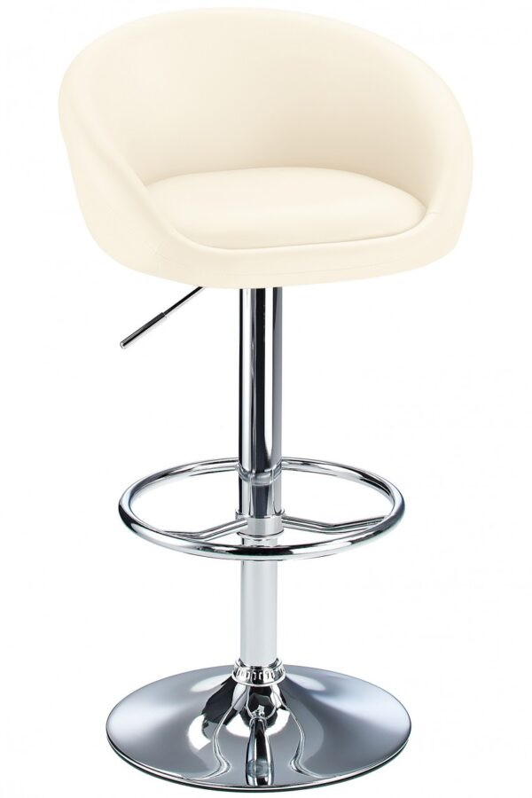 Lombardy Real Leather Bar Stool Adjustable Height Chrome Frame 3 Colours - Cream