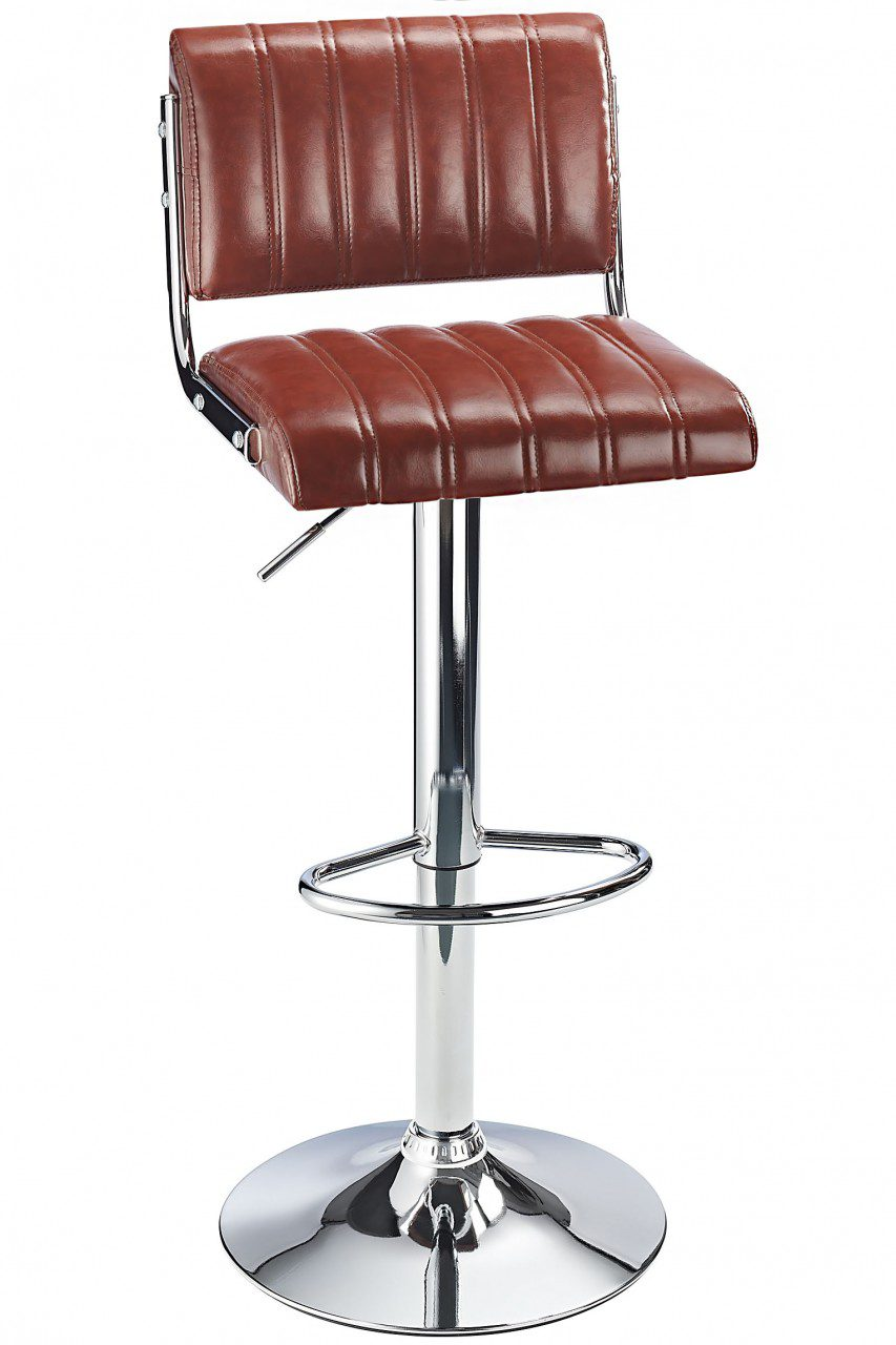 Harlsom Bar Stool Adjustable Height Soft Rest Various Colour Options - Brown