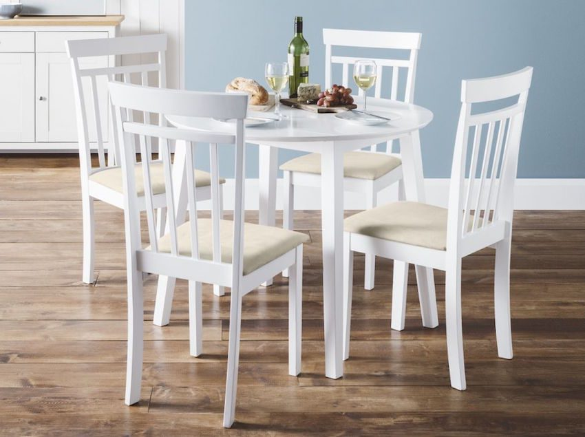 Corel Round Wooden Dropleaf Small Dining Table With 4 Chairs