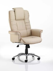Chel Leather Adjustable Office Chair - Cream