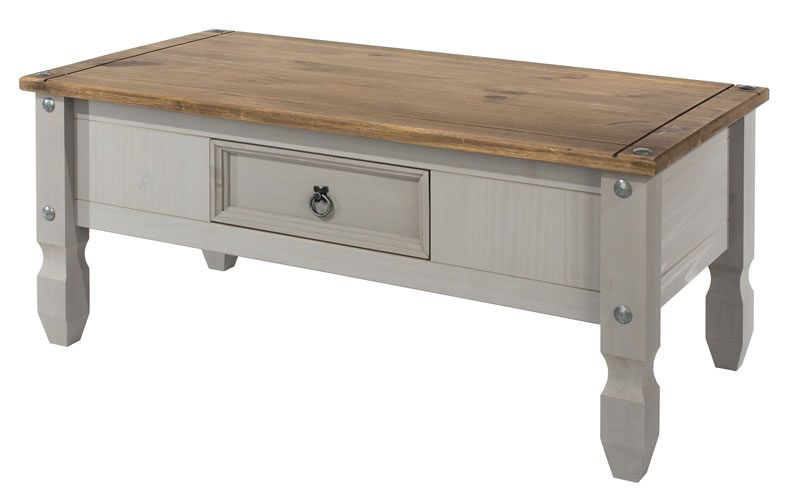 Coson Grey Pine Coffee Table Drawer