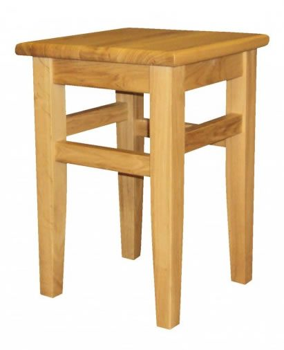 Crafty Solid Oak Wood Frame Low Stool No - Brown Faux Leather