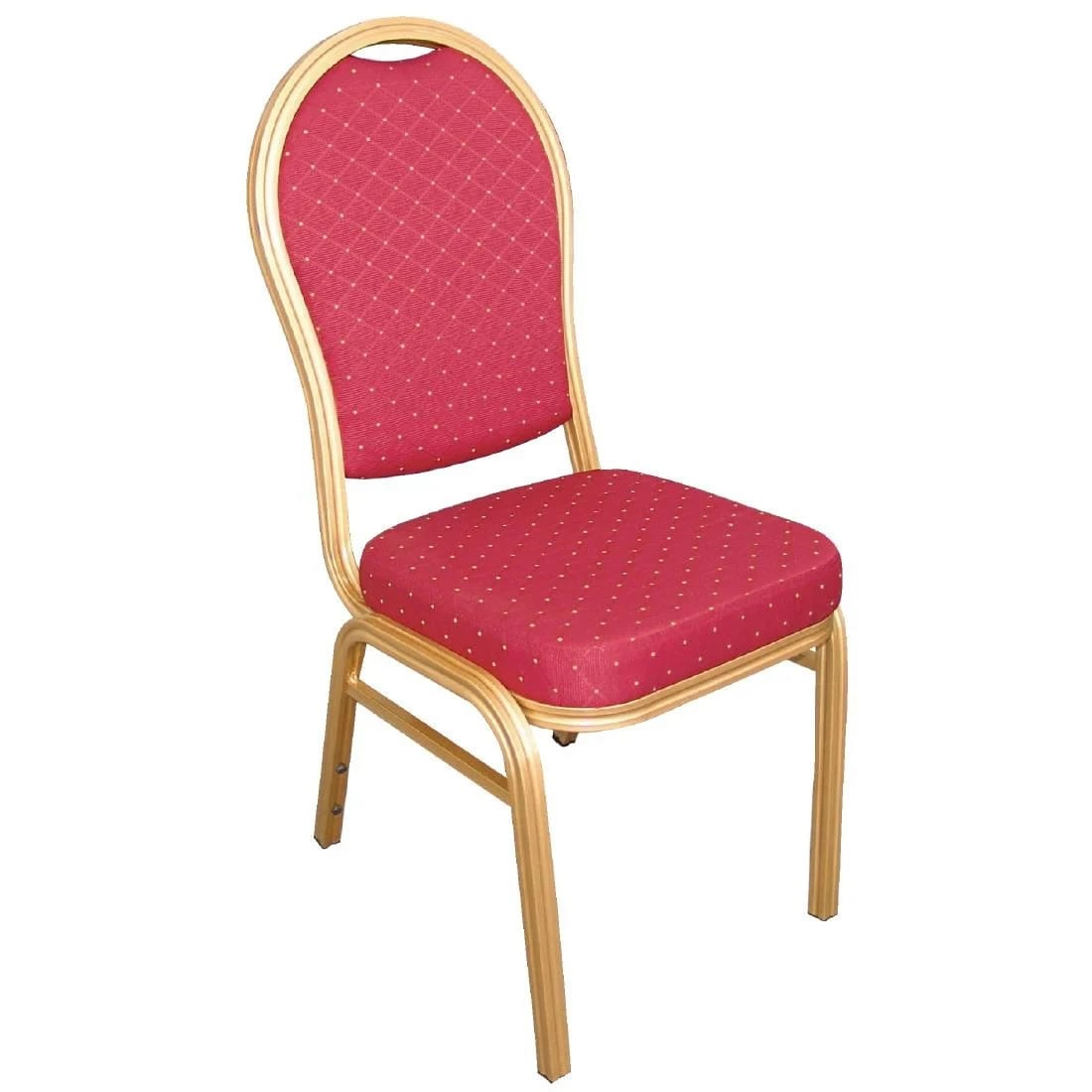 Brelone Set Of 4 Rounded Chairs Red Gold Frame