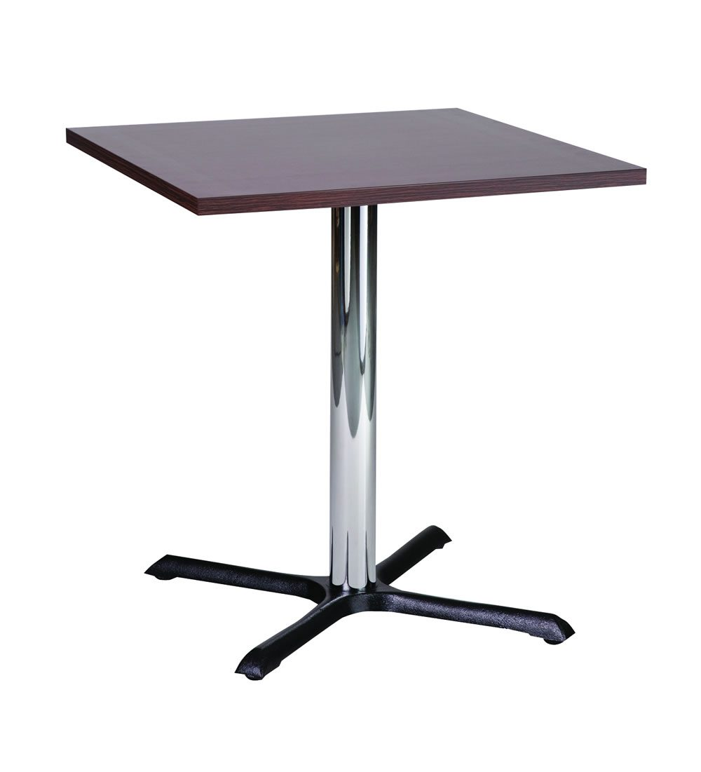 Elliot Chrome Coffee Poseur Table base Square Solid Wood Top