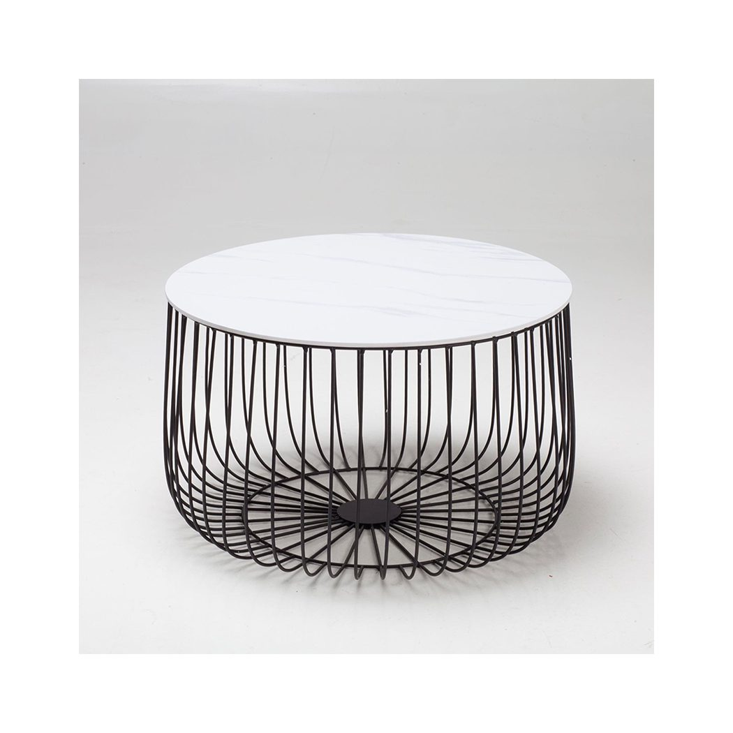 Eventa Large Cage Table Imitation Marble Top Black Frame