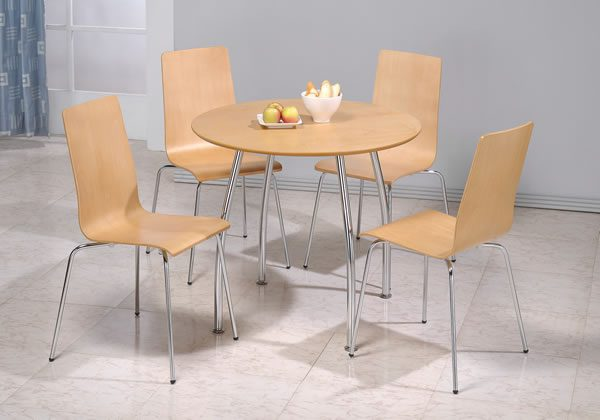 Falafa Chrome And Wood Round Table And 4 Chairs
