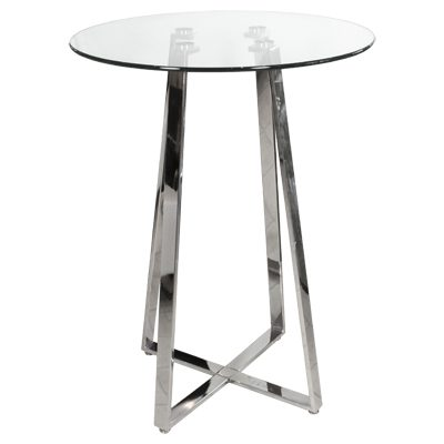 Nerix Round Glass Top Tall Bar Poseur Table