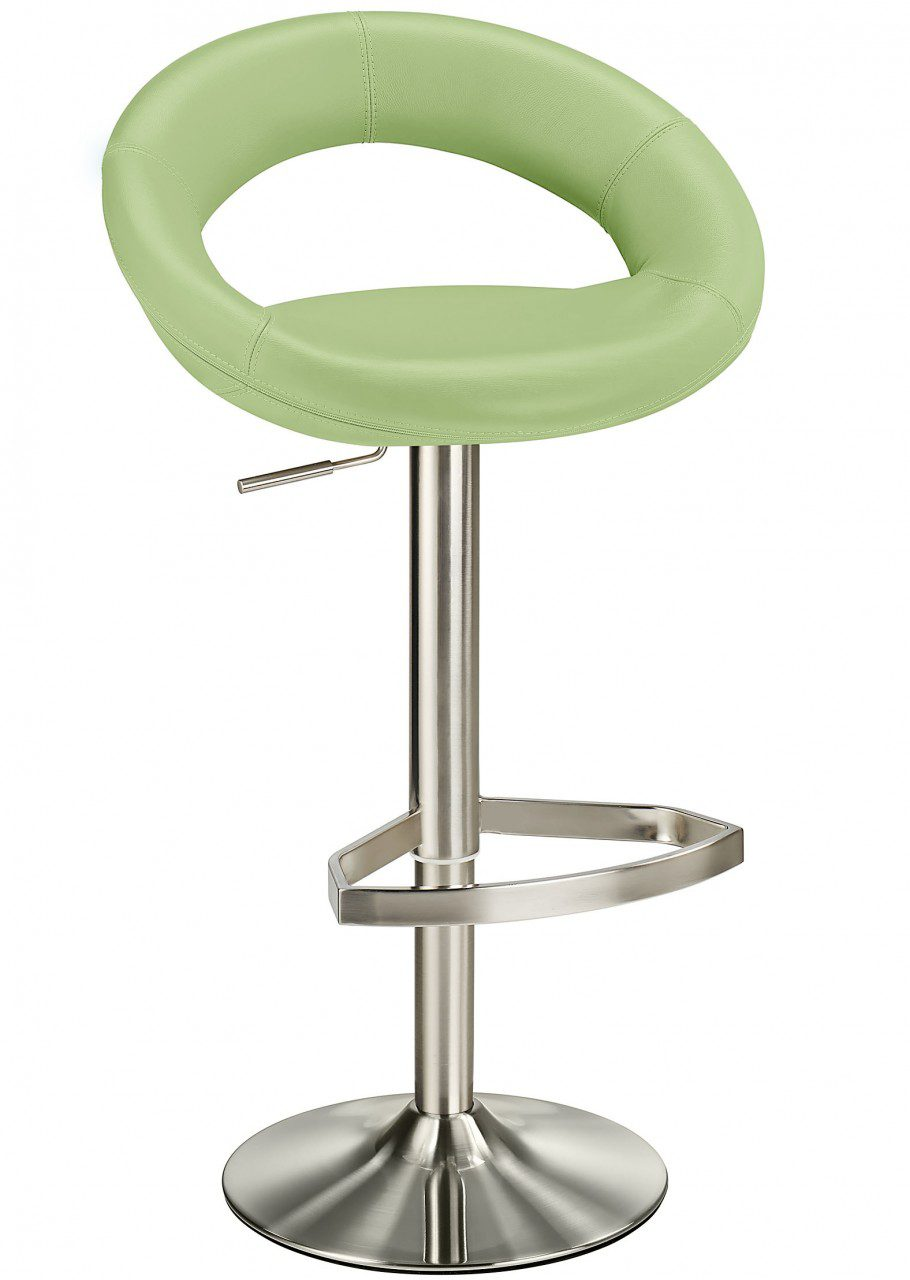 Buffet Mint Green Kitchen Bar Stool Padded Seat And Back Height Adjustable Brushed Stainless Steel Frame
