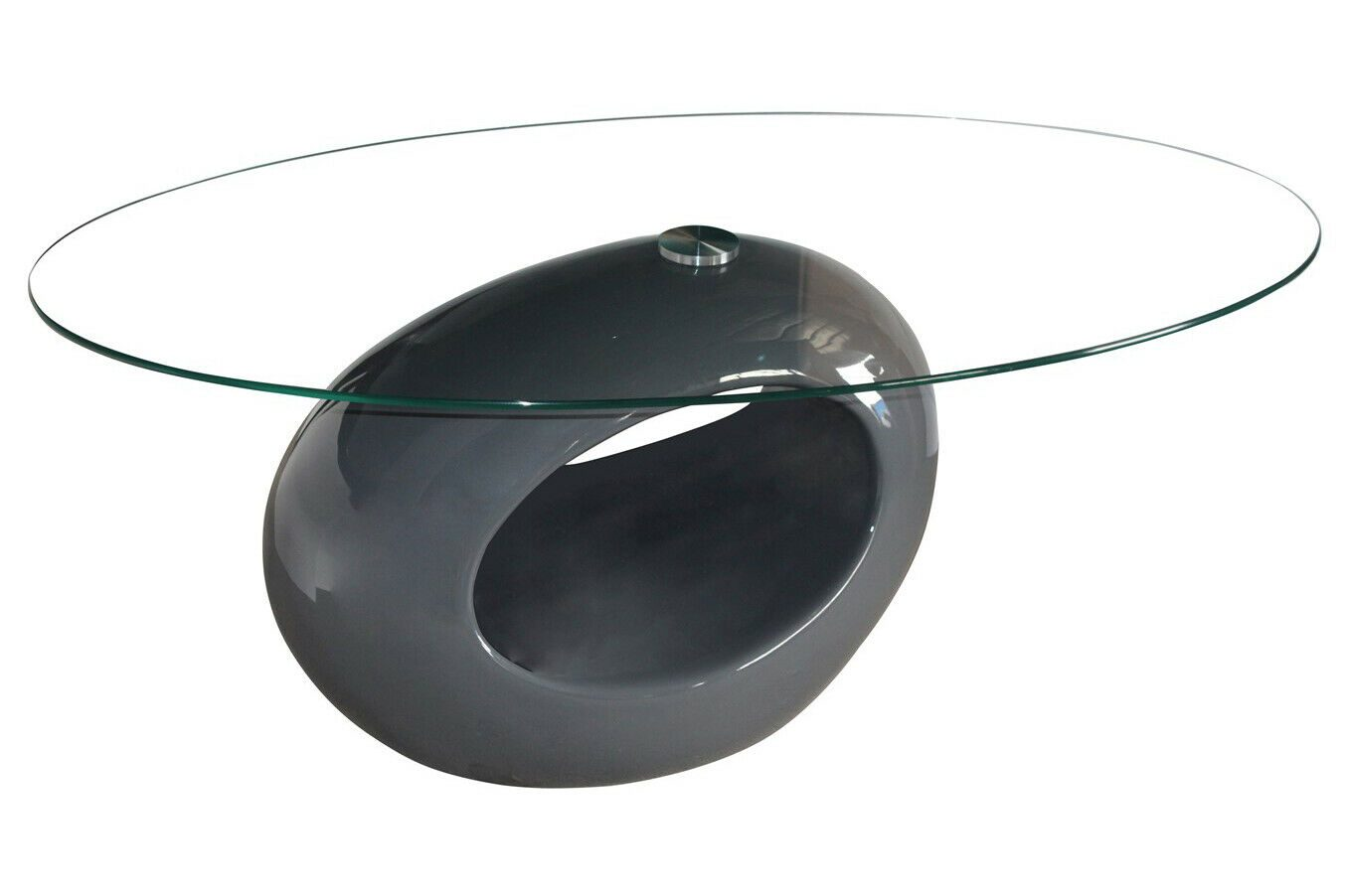 Genevey Mink Grey Glass Gloss Contemporary Coffee Table