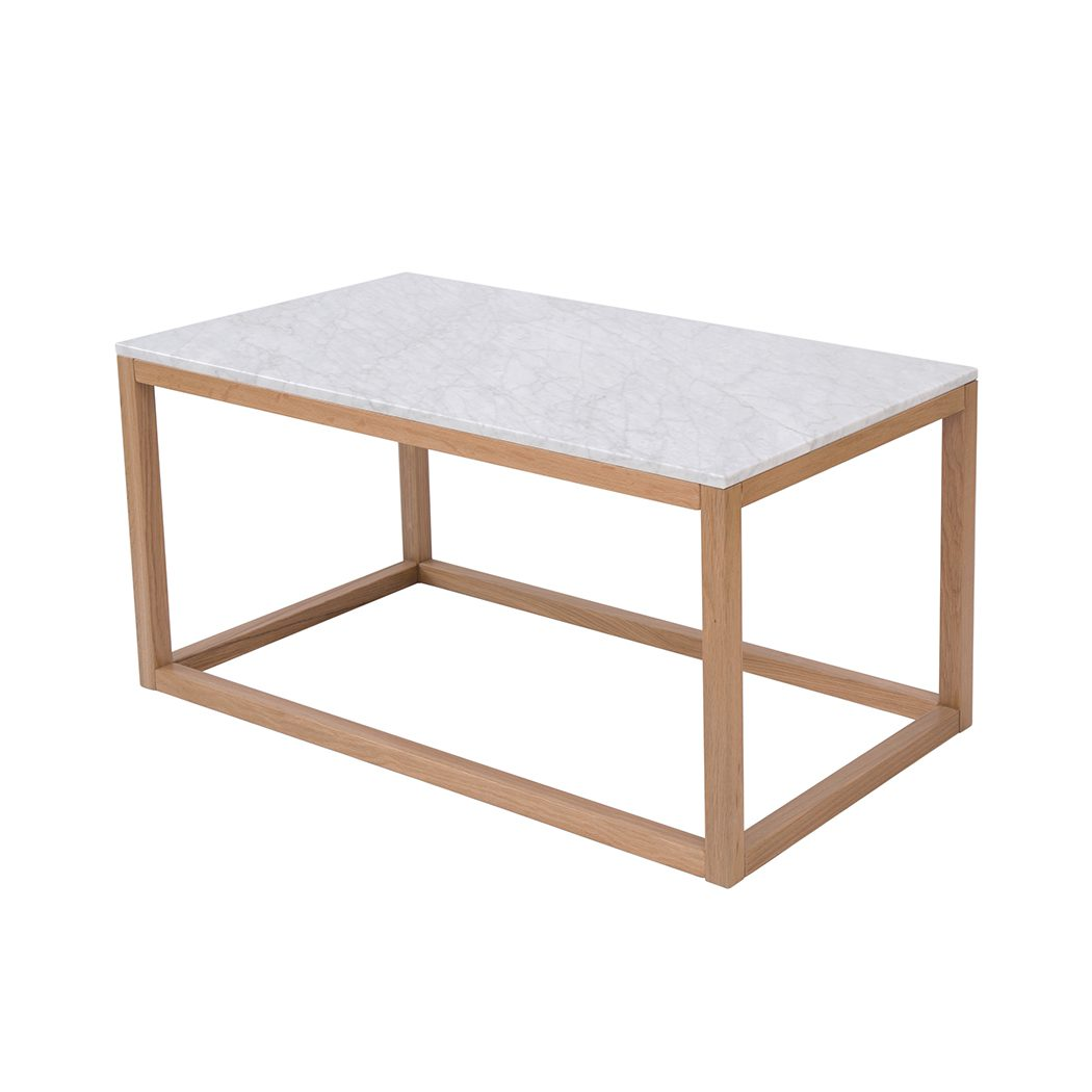 Harly Coffee Table Oak-White Marble Top