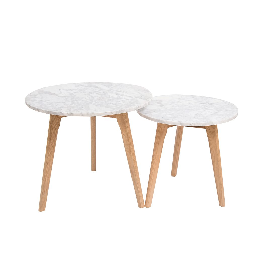 Harly Round Nest Of Tables Oak-White Marble Top