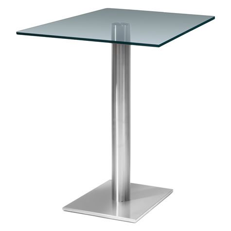 Helsone Square Clear Tall Poseur Glass Table - Stainless Steel