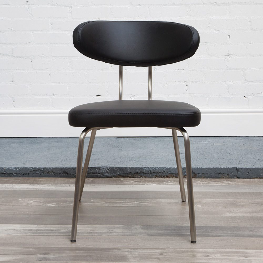 Marago Brushed Steel Faux Leather Modern Chair - Fully Assembled Various Colours - Black