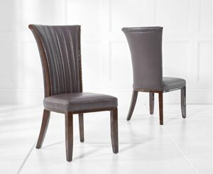 Garoffa Brown Leather Dining Chair (Pairs)