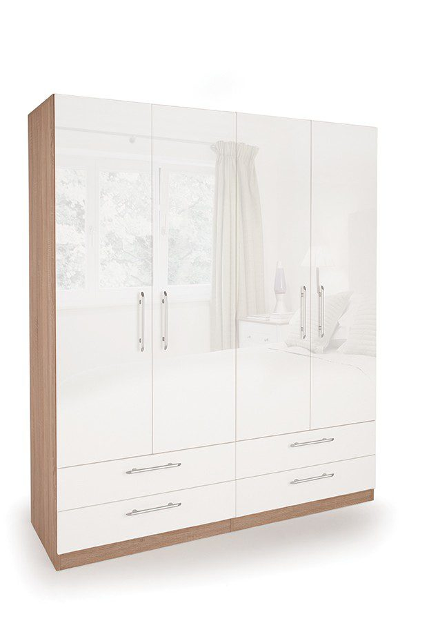Coral Gloss Quality Bedroom Double Combi Wardrobe - Various Colours