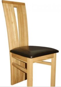 Cravony V Shaped Chair Solid Oak Wood Frame - Faux Leather