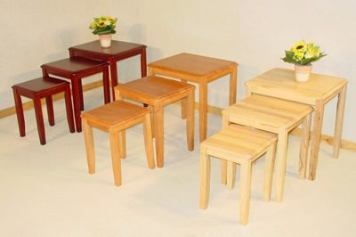 Kingtroad Wood Nest Of 3 Side Coffee Tables Natural
