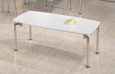 Lila White Coffee Table Rectangular Top Chrome Legs
