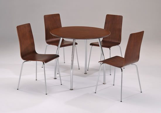 Lingham Wood Dining Set Circular Round Walnut And Chrome Table And 4 Walnut Chrome Chairs