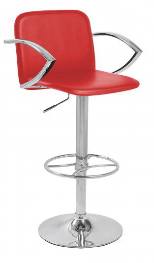 Manager Bar Stool Black Faux Leather Arms