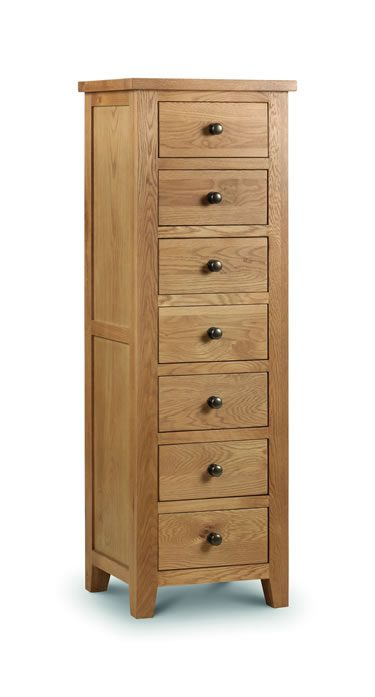 Rachel Narrow 7 Drawer Chest Solid Oak And Veneers - Fully Assembled