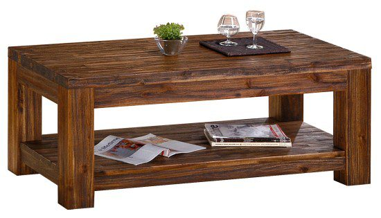 Martin Accacia Dark Brown Coffee Table Fully Assembled Double Shelf