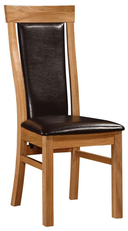 Mats Solid Oak Dining Kitchen Chair With Padded Seat