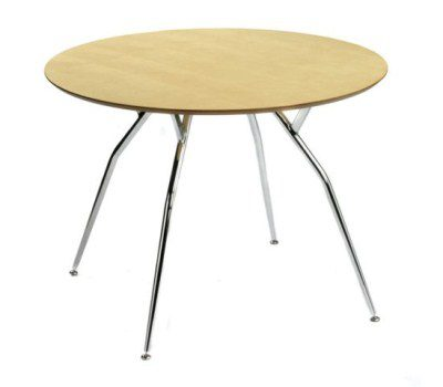 Milli Chrome Wood Table - Small Round