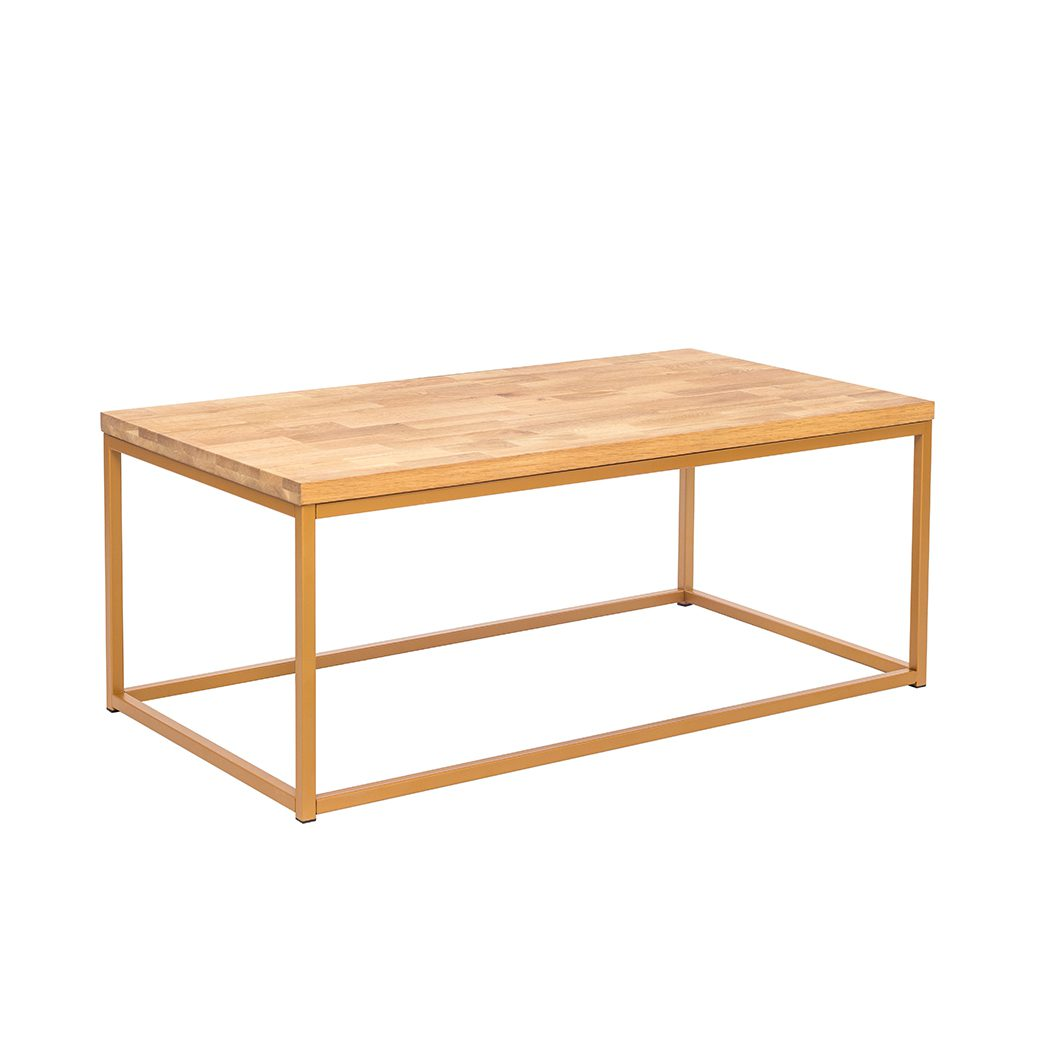 Michie Coffee Table Solid Oak Gold Metal Frame