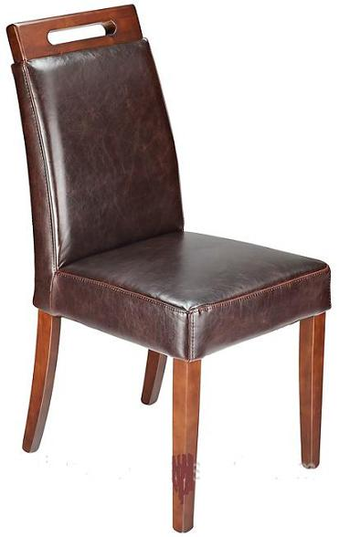 Modernason Brown Aniline Real Leather Padded Seat Quality Modern Dining Chair Walnut Frame Fully Assembled
