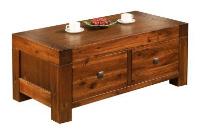 Mona Accacia Solid Wood Coffee Table With Veneer Top Fully Assembled