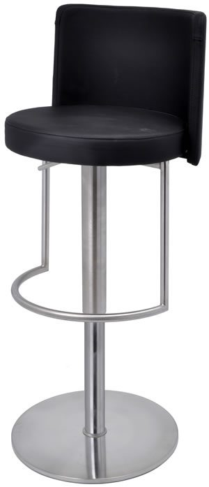Moyzan Brushed Steel Kitchen Bar Stool With Footrest - Variety Of Colours - Black