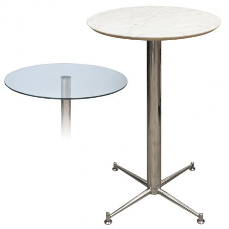 Payson Poseur Marble/Granite Table Top 4 Leg Chrome/Stainless Steel