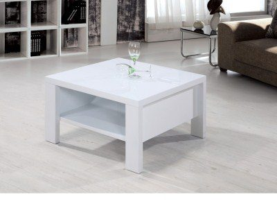 Tanzania White High Gloss Coffee Table - Square