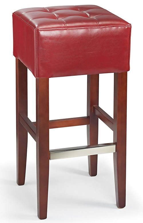 Primo Wooden Bar Stool ReaLisbon ded  Red Leather Walnut Frame