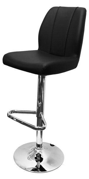 Bryant Adjustable Bar Stool With Faux Leather Padded Seat And Backrest - Black