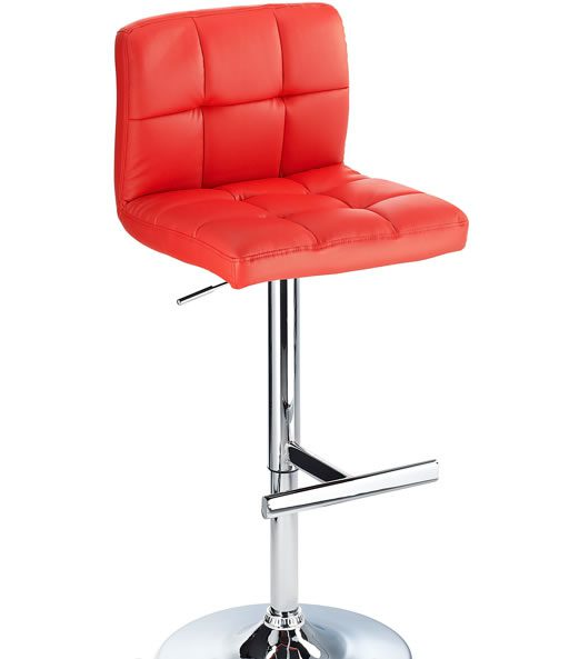 Cuborn Red Bar Stool Faux Leather Seat And Back
