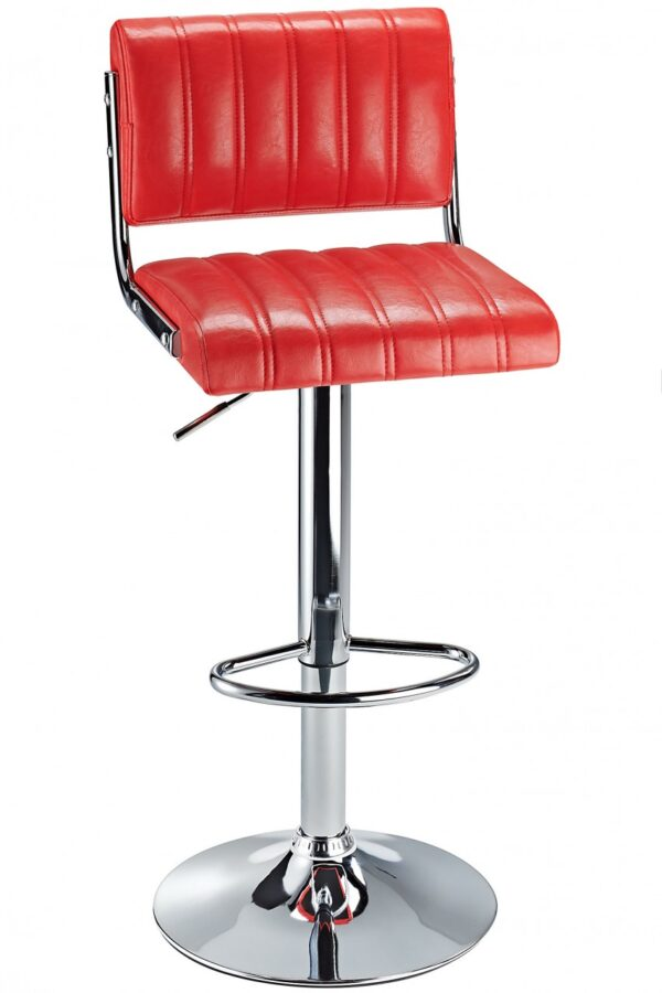Harlsom Bar Stool Adjustable Height Soft Rest Various Colour Options - Red