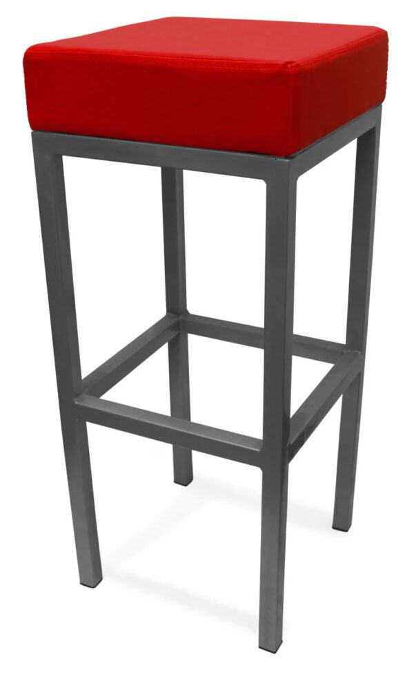 Cara Black SteeLissquare Stool Fixed Height Frame 3 Colours - Red