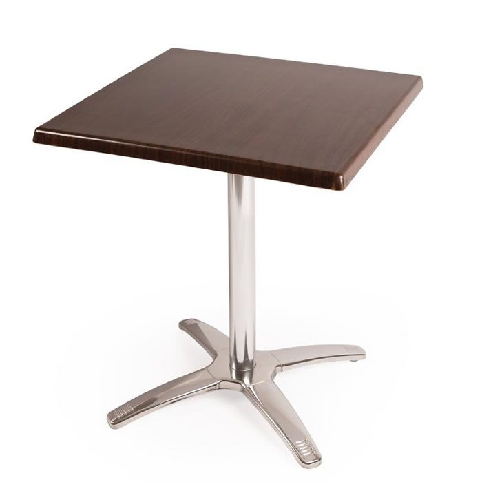 Pinko Square Dark Brown Outdoor Table Top Base Chrome Frame