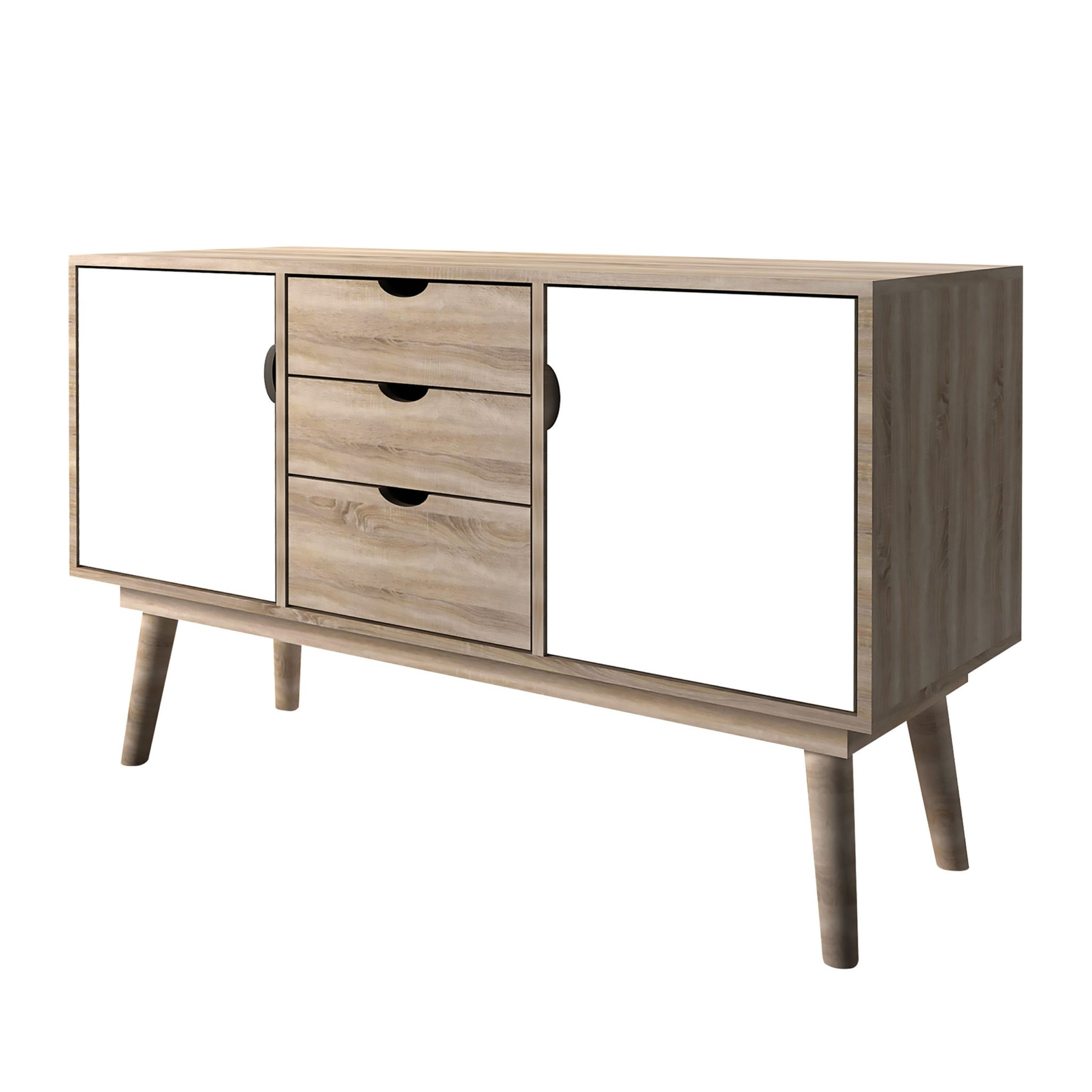 Secily Oak 2 Door Sideboard White