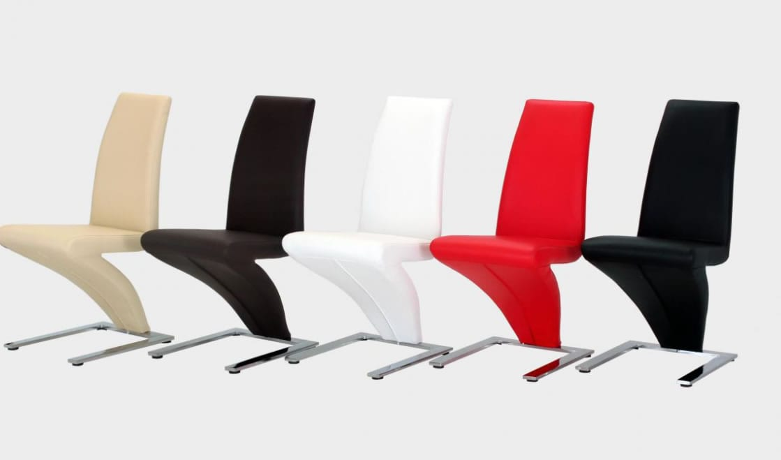 Lassa Dining Chairs Z Shaped Padded Seat - White