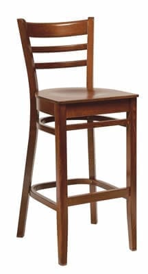 Linker Dark Wood Frame High Back Kitchen Bar Stool Fully Assembled