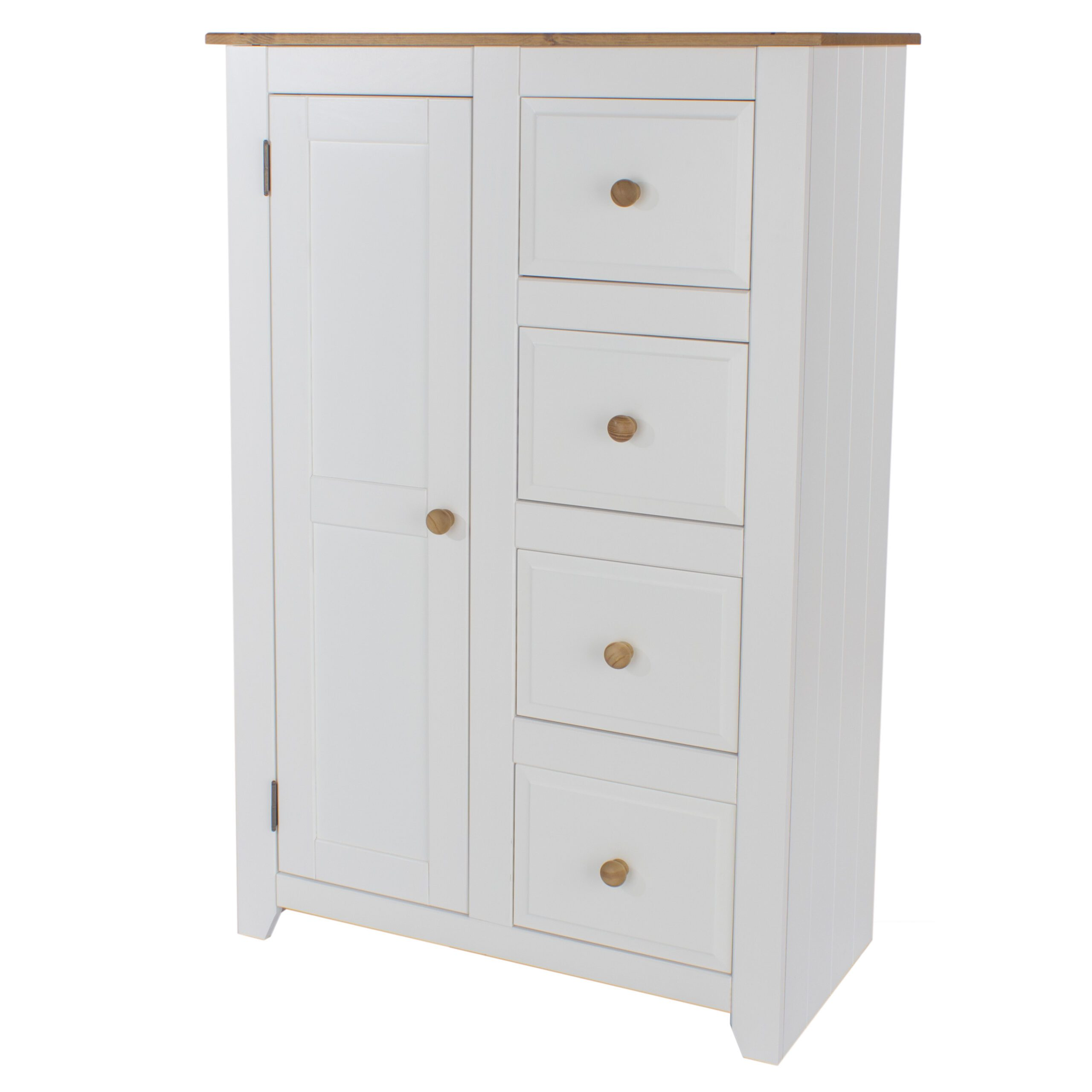 Shelton Pine And White Chest 1 Door 4 Drawer Tallboy