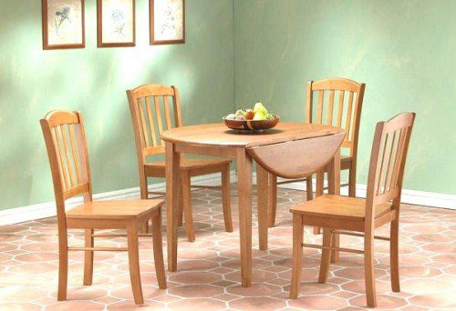 Natural Wood Round Extending Table And 4 Chairs - Mahogany