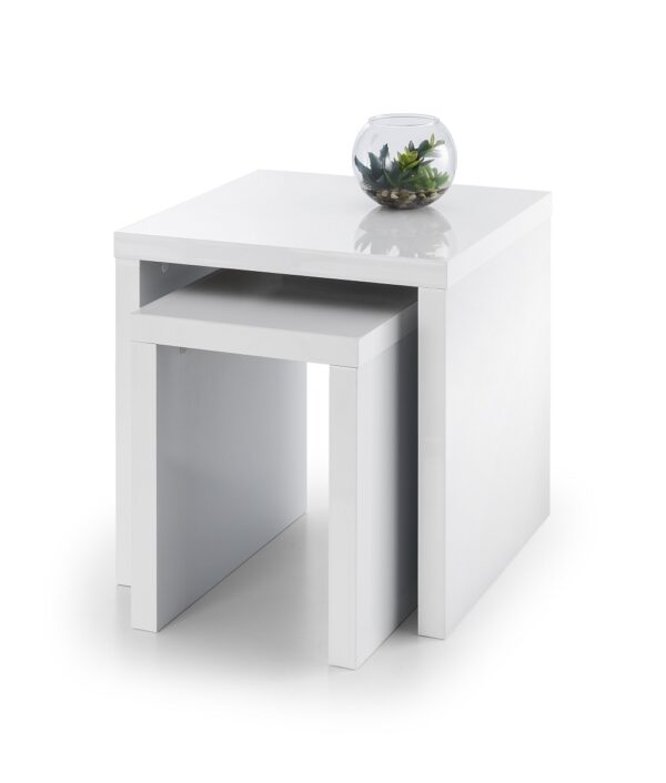 Meton White High Gloss Nest Of Tables