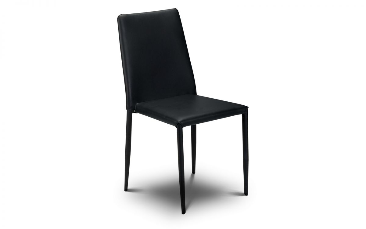 Joa Faux Leather Kitchen Dining Chair Stacking Fully Assembled - Black