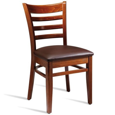 Stayvone Quality Kitchen Dining Chair Medium Walnut Frame Brown Padded Seat Fully Assembled