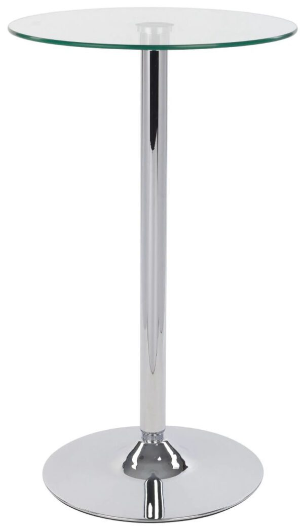 Bert Table Tall Clear Round Glass Bistro Bar Table