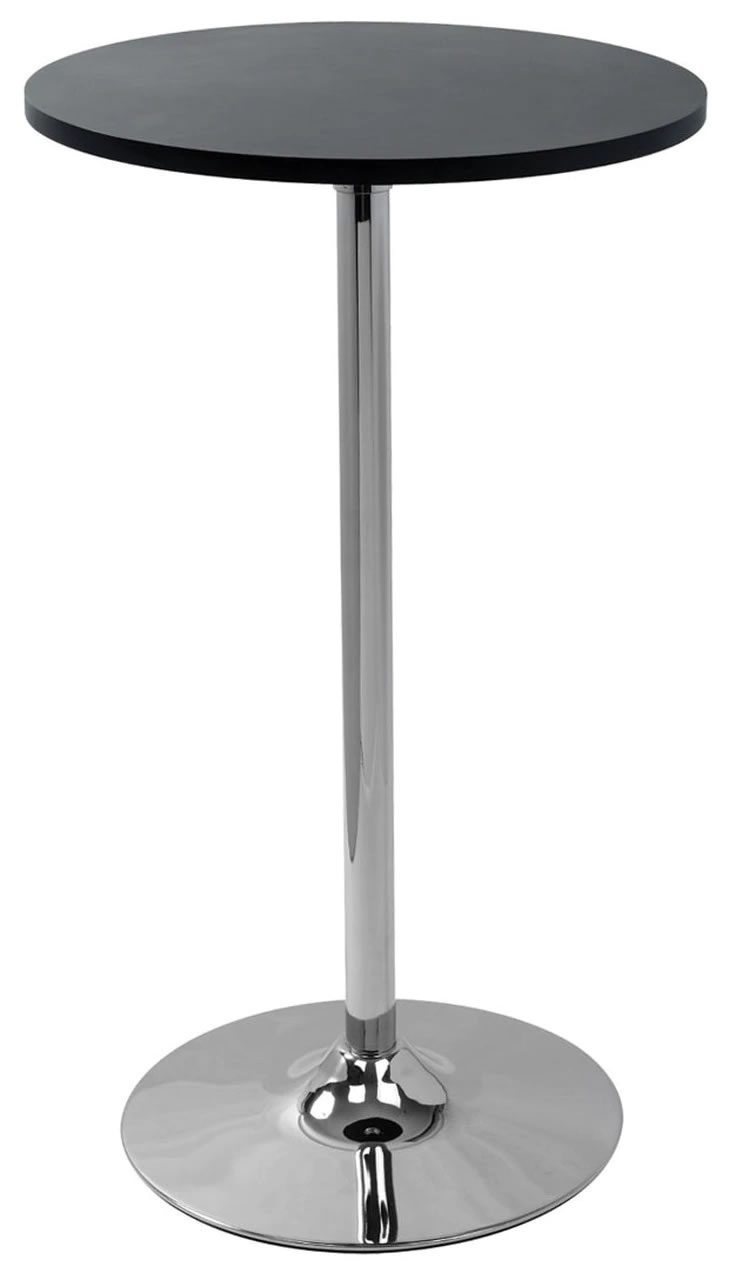 Alsing Tall Bar Poseur Table Black Round Top